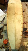 """Name: 3-8-12 Anti-Spray Strakes.jpg Views: 176 Size: 45.8 KB Description: Meaured off every 2 inches and glued in wedge shapes and a long 1/8"""" square balsa strake for the chine edges."""
