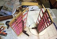 Name: 3-17-12 RuddersSheeting.jpg Views: 123 Size: 69.2 KB Description: Glued the elevator and rudders together. Squared them and secured. The rudders have cables and I added carbon fiber spars