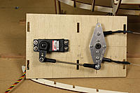 Name: 35-Rudder servo & bellcrank done.jpg Views: 681 Size: 221.0 KB Description: Rudder pull-pull setup: Hitec 645MG servo, ball bearing bellcrank, and Dubro  pull-pull kit. Keep the servo arm at 90° to the bellcrank rod or you will get different throws on the rudder (I was too lazy to move the servo over).