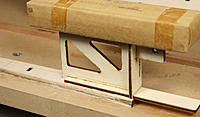 Name: 165-tongue box glued to fin post.jpg Views: 191 Size: 169.9 KB Description: Glue the tongue box to the rib-location side of the fin post assembly. The End Plate aligns with the bottom of the Post. That is lead type in the wrapped package; any weight that works!