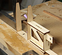 Name: 168-ribs glued to fin post.jpg Views: 205 Size: 180.3 KB Description: Glue ribs to fin post/box assembly. Rib F5 is glued to the top of the tongue box. I used CA  on all but F5. For some reason F1 didn't line up where marked, so I used the sub-LE to get it right. No photo of sub-LE being glued.
