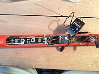 Name: precision radio 1.jpg Views: 209 Size: 228.7 KB Description: Rx is underneath that one remote, and the gap between the 5 cell 1500mah elite Nimh pack is JUust big enough to fit the Telemetry module TM1000 on its side with the Bind Button  and altitude sensor on top.