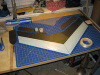 """Name: IMG_0252.jpg Views: 2885 Size: 97.6 KB Description: Top view during build, note both black 6mm depron and .250"""" blue foam were used."""