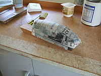 Name: DSCF3240.jpg Views: 352 Size: 253.7 KB Description: canopy with glued strips of news print added and when hard will sand.this gives the mold a bit more hardness for vac pulling. Stops it from crushing.