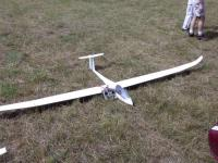 Name: Ed's Ventus 2C 3.6M Ready for flight  r.jpg Views: 114 Size: 65.8 KB Description: Tow release is in the nose.  I would cut the nose and install a brushless of 400-600 watts with a folder.