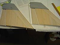 """Name: DSC02144.jpg Views: 335 Size: 132.3 KB Description: Cut 4"""" of the top of the fin, then cut out the rudders. I need to grab wood at the shop to cap them and some robart hinges"""