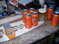 Name: m_011.jpg Views: 225 Size: 56.8 KB Description: Cans of drink make the best weights & squares for setting up bulkheads & frames.