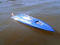 "Name: Arowana II.jpg Views: 164 Size: 240.8 KB Description: Arowana II 33"" Delta Force (copy) TP Power 2180 kv 4082 motor M440/3 prop. 4s Lipo Sold"