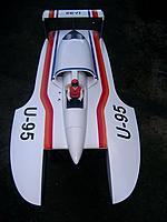 Name: U-95 Hydro..jpg Views: 142 Size: 63.5 KB Description: U-95. 1/8 scale Hydro.  Nue 1527/1Y 1250kv motor, 8s Lipo, Prather s235  prop.