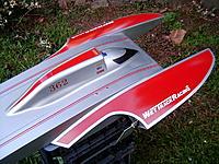 Name: GP400 Sports Hydro..jpg Views: 135 Size: 311.1 KB Description: ML Boatworks GP400. TP Power 4070 1440kv motor, HiModel GX200A esc,  3s x 2, 60C 5000mah packs for 6s, Prather s240  prop.