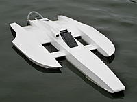 Name: 005.jpg Views: 146 Size: 328.9 KB Description: Sea Eagle Canard. ML Boatworks kit converted to a Canard configuration. HET  700-83 1080kv motor, Seaking 130A HV  esc, 8s lipo, X450/3 blade prop.