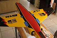 Name: Img_0020.jpg Views: 502 Size: 122.1 KB Description: Aeropoxy applied to formers and plane flipped to align wings...