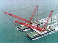 Name: Rambiz3.jpg Views: 249 Size: 43.8 KB Description: The truss will tie the two barges together when in this configuration.