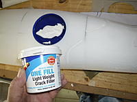 Name: SAM_1583.jpg Views: 265 Size: 147.0 KB Description: Some foam wedges were needed, after sanding to shape the small hollows are filled with light filler.