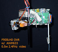 Name: f900.jpg Views: 272 Size: 87.0 KB Description: video transmitter fixed on DVR board, to convert my flying wing into FPV plne I connect servos and DVR power (sevo plug too)