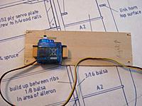 "Name: ail servo4.jpg Views: 118 Size: 80.2 KB Description: The 1/32"" ply aileron servo hatch with servo mounted."