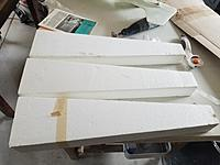 """Name: 20180309_141640.jpg Views: 80 Size: 933.5 KB Description: White foam, modified thinned out  E374 transitions to a symmetrical airfoil at the tip for a 43"""" wing"""