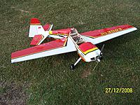 Name: 27122008001.jpg Views: 162 Size: 319.6 KB Description: Seagull Edge 540 8 cell conversion goes wrong on the maiden flight.  Having the ailerons reversed didn't help....