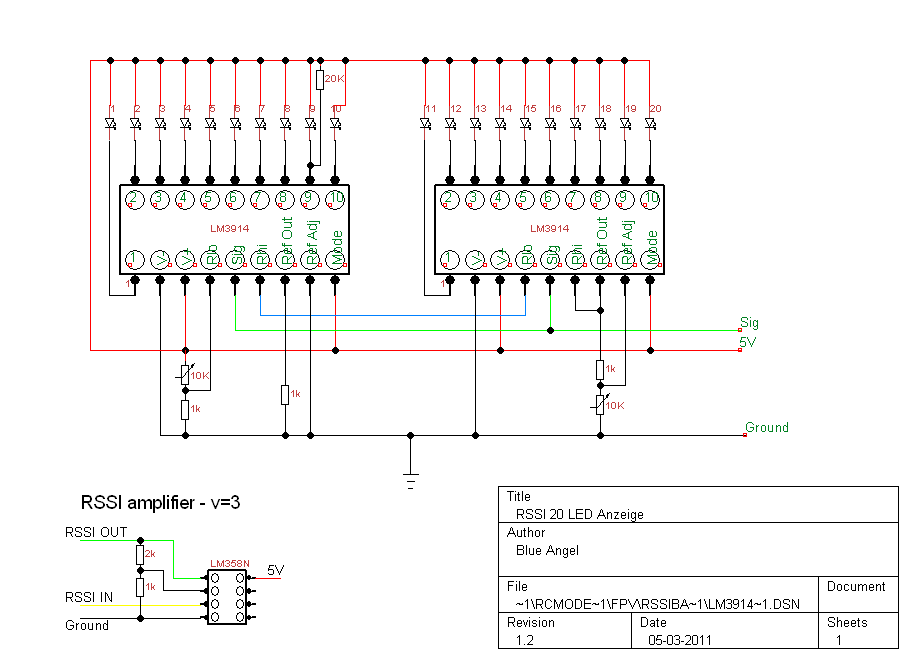 a3857159-61-LM3914 RSSI Anzeige 20 Led on american audio, schematic diagram for 6, schematics for bass, bar graph,