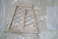 """Name: 20120725_IMG_1100.jpg Views: 136 Size: 178.6 KB Description: Basic outlines of 3/16"""" square and 3/16"""" sheet with first layer of diagonals added.  Base piece of fin is two laminations of 1/16"""" balsa either side of 1/16"""" ply with a tongue to locate into tailplane"""