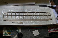 """Name: 20120729_IMG_1103.jpg Views: 117 Size: 180.8 KB Description: First stage of building the bottom wing; LE, TE, bottom spar and bottom C/S sheeting and ribs in place, together with 1/16"""" ply centre brace"""