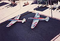 Name: Jim-Kelley's-Toni-&-Dan's-S.jpg Views: 438 Size: 98.1 KB Description: A mid-wing Toni built by Jim Kelly that I painted, and my Stinger from a Don Rice kit.