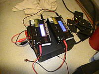Name: PIC_1703.jpg Views: 389 Size: 71.2 KB Description: My charging station. Involves a 20 amp power supply, 2 Turnigy Accucel-6 chargers, solar panels (wait, what..?)...