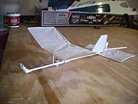 Name: PIC_1709.jpg Views: 358 Size: 48.4 KB Description: My LBSSF (Low Budget Super Slow Flyer). 6 grams AUW. Needs more power, and a more effective rudder.