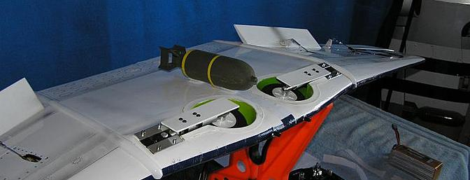Bomb from Flyzone's Zero was 'borrowed' and secured with Velcro tape.