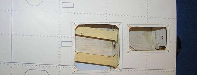 Flap/Dive Brake access on the left; hatch on the right to access the outer wing panel bolt that holds the two sections together.