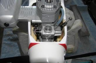 Front view of engine installation.