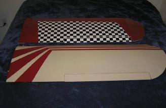 Two-piece wing: bottom covering is checkerboard and nicely covered.