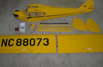 The complete kit contents, including installed radio and engine.