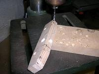 """Name: YL-15 assembly 011.jpg Views: 262 Size: 80.7 KB Description: Drilling the hinges in the 3/8"""" ply block from the rudder inside"""