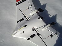 """Name: FX-61 Rudder Servos.jpg Views: 8 Size: 1.83 MB Description: FX-61 Rudder servos and linkages tucked under wing.  Typical bungee launch hook shown made from 1/8"""" Lexan"""