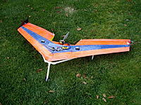 Name: IMGP1072_resize_resize.jpg Views: 134 Size: 53.4 KB Description: The Zephry on an unsuccessful launch dolly, built for FPV but not a great first FPV plane for me. Lot's of fun to fly.  Note the drag rudders I added.