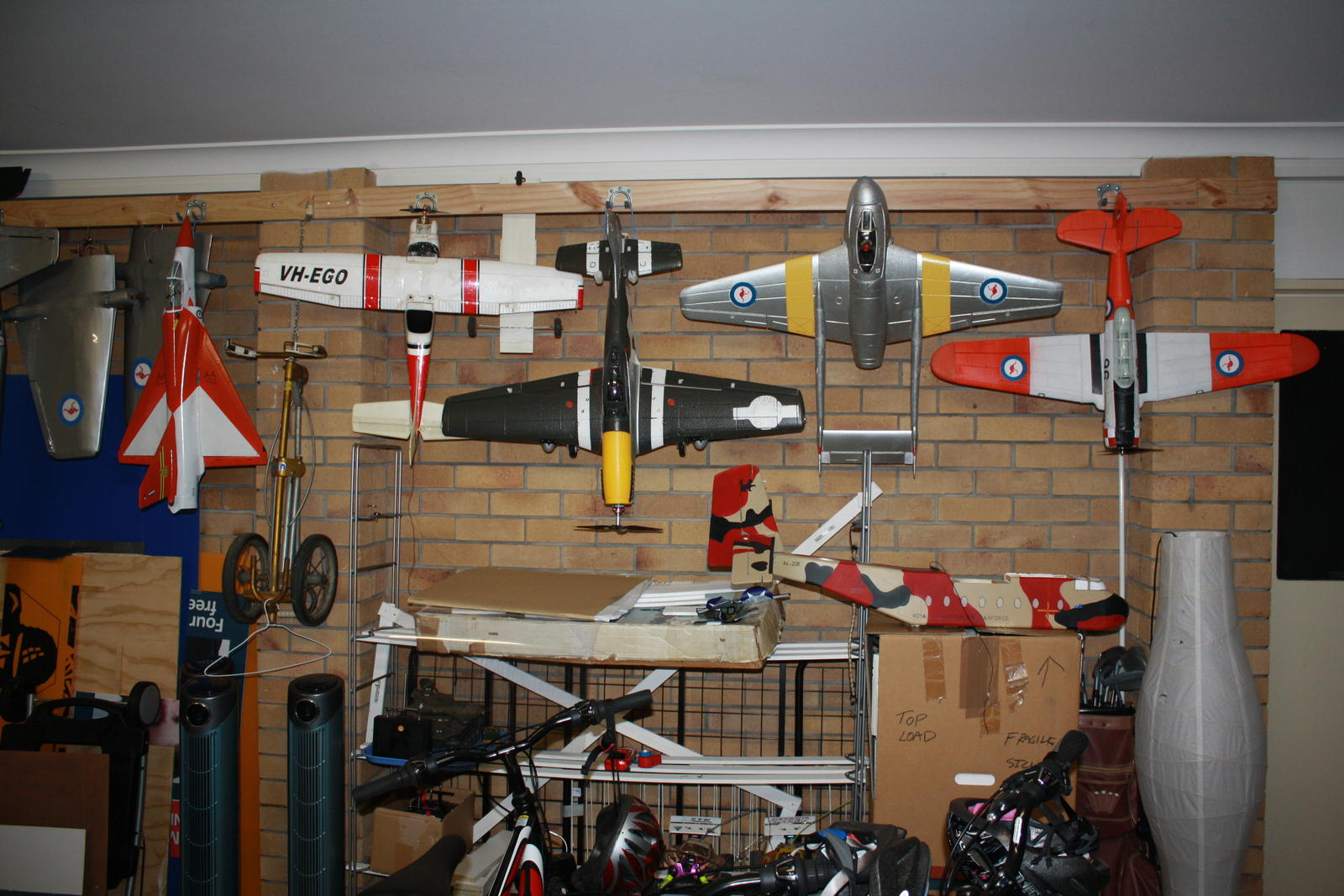 Name: IMG_9522.jpg Views: 205 Size: 226.1 KB Description: Start of the hanger. Best method I have had for storage. Wirraway then Vampire, P-51,Cessna,Mirage III.