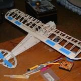 The wing fully assembled with ailerons taped on.  Isn't she pretty?