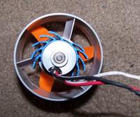Name: fan_unit.jpg Views: 160 Size: 94.0 KB Description: 370 E-flite motor with moded fan blade, amps 11, watts 121 each