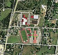 """Name: Hico JHS 1.jpg Views: 62 Size: 134.6 KB Description: Hico Junior High School Cafeteria, 586 9th St., Hico, TX 76547.  Note """"Enter Here"""" at the front of the building in the green border."""