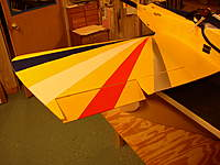Name: P8010019.jpg Views: 61 Size: 69.7 KB Description: Full deflection, if seen from below you would see why I hinge at the top of the aileron rather than center, really makes a big difference in eliminating yaw.
