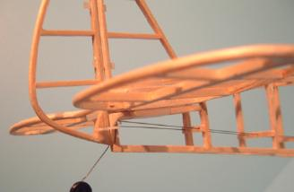 Detail of the completed tail framework, showing the steerable tailwheel and the small control horns, made from small servo arms.