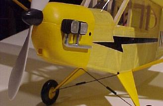 Completed model showing the propeller, cowl and bungee-style landing gear.
