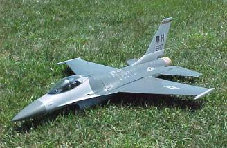 The F16 with decals added, after a flight at the Mid America Funfly.