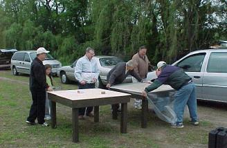 TEMAC members contribute and build tables for the field.