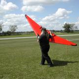 Keith Shaw of Ann Arbour, Mich. put on a great flight demonstration with his huge 4-motor pusher flying wing.