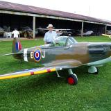 One of the human carrying aircraft that flew into York Airport during the funfly was this 60% scratchbuilt Spitfire, built by a former RC modeler.