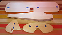 Name: 20200212_081420.jpg Views: 51 Size: 605.6 KB Description: Near all the parts of the Piper are here.  The wing is built with 6mm depron and 6mm carbon tube will be added as a wing spar. elevator and rudder are 3mm depron
