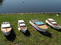 Name: Spring Lake - 2011 016.jpg Views: 181 Size: 309.8 KB Description: We were able to get all four Sterling CC;s together at the same time.  The two on the right are original kits the two on the left are scratch built from internet plans