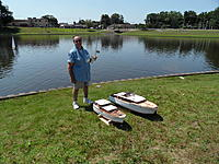 Name: Spring Lake - 2011 082.jpg Views: 159 Size: 308.0 KB Description: Tinknocker and two modern scratch builts.  The Corvette is still under construction and today was her maiden voyage.  Both ran well with no surprises. Especially for the maiden trip.